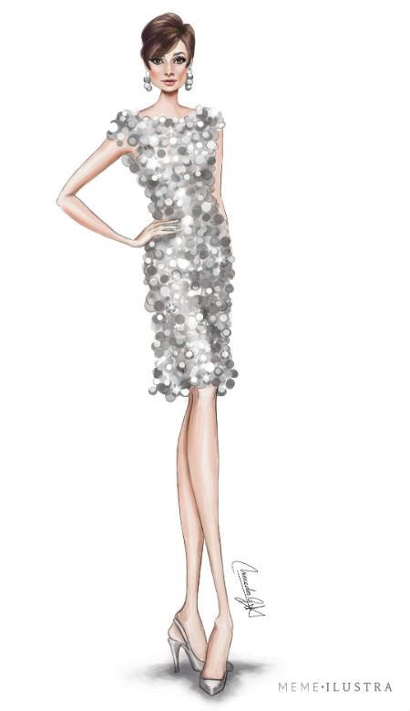 Ilustración de Audrey Hepburn en Dos en la carretera con vestido de Paco Rabanne. Mercedes Galán.