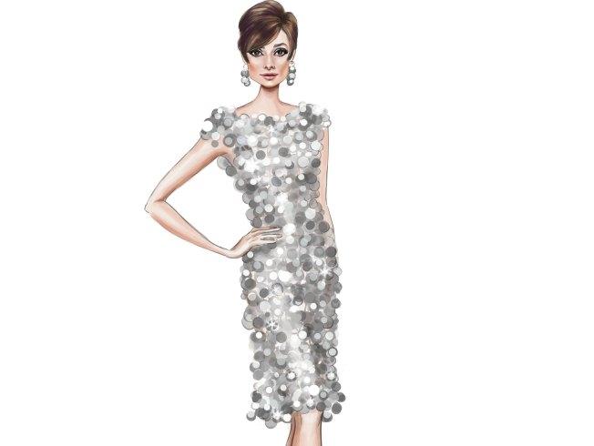 Ilustración de Audrey Hepburn, vestido de Paco Rabanne en Dos en la carretera. Mercedes Galán