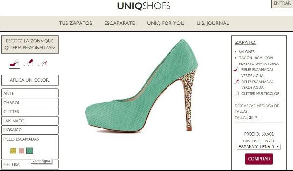 Así se personaliza un zapato en Uniqshoes
