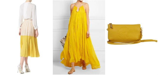 Falda de Cedric Charlier, vestido de Chloé y bolso de Dolores Promesas