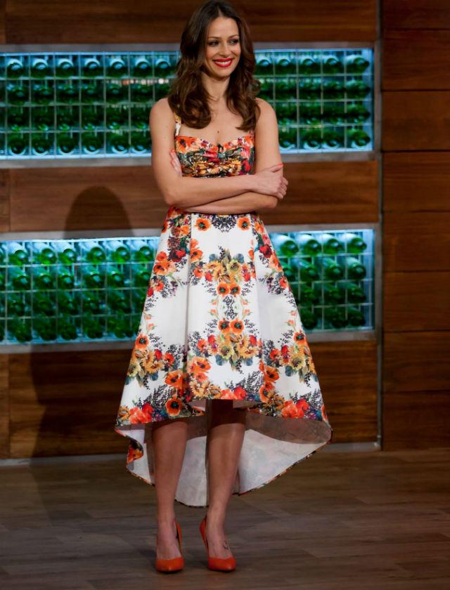 Para el programa de la final eligió este vestido de Dolores Promesas y calzado de Zara. TVE