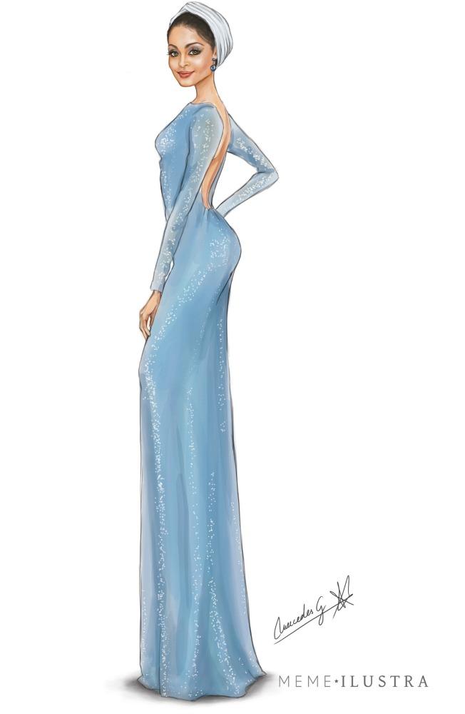 Ilustración de Hiba Abouk con vestido de Jorge Vázquez en El Príncipe. Mercedes Galán.