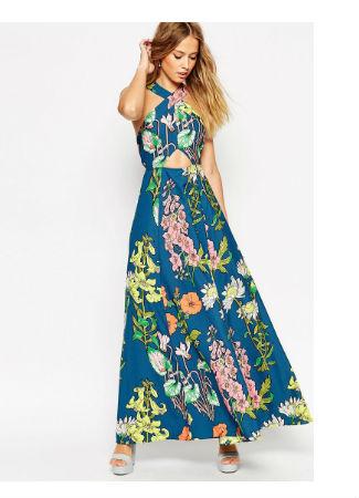 Vestido floral largo de Asos