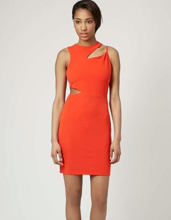 Vestido rojo asimétrico de Topshop
