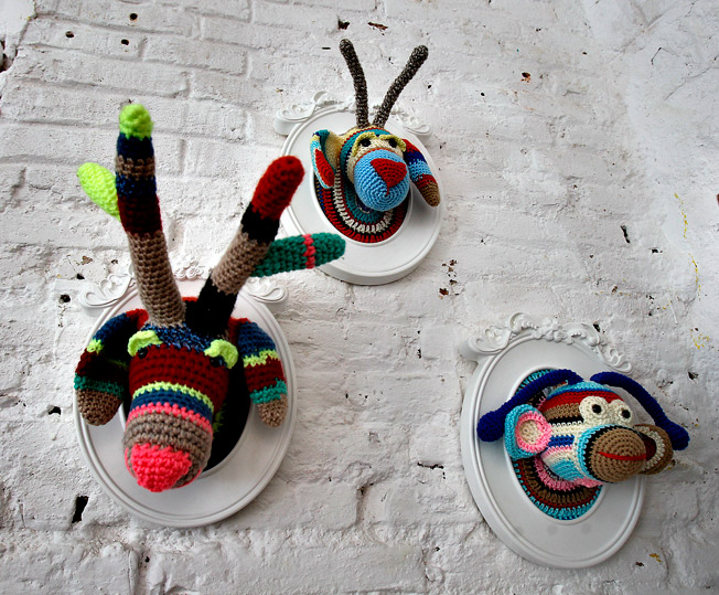 Cabezas de animales exclusivas realizadas a mano en croché