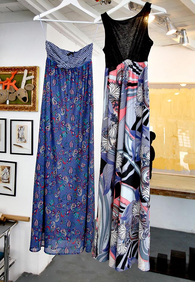 Vestidos largos «boho chic» estampados en tonos azules