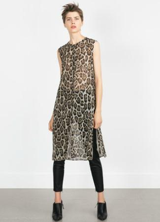 Camisa túnica de leopardo de Zara