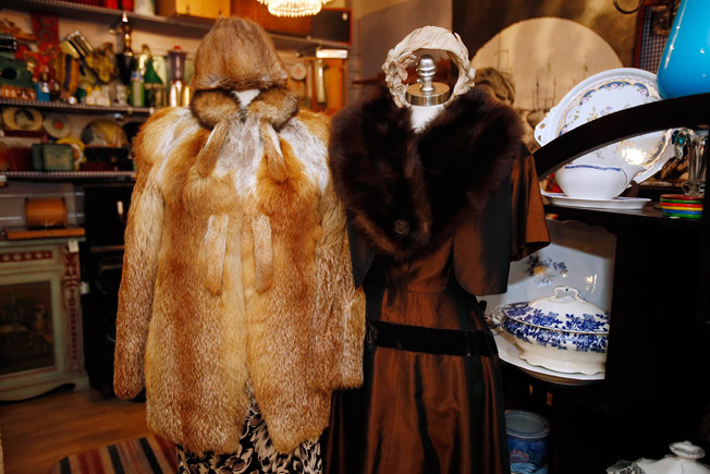 Abrigo de pelo de zorro y vestido tornasol de los años 50 con capota y estola de visón