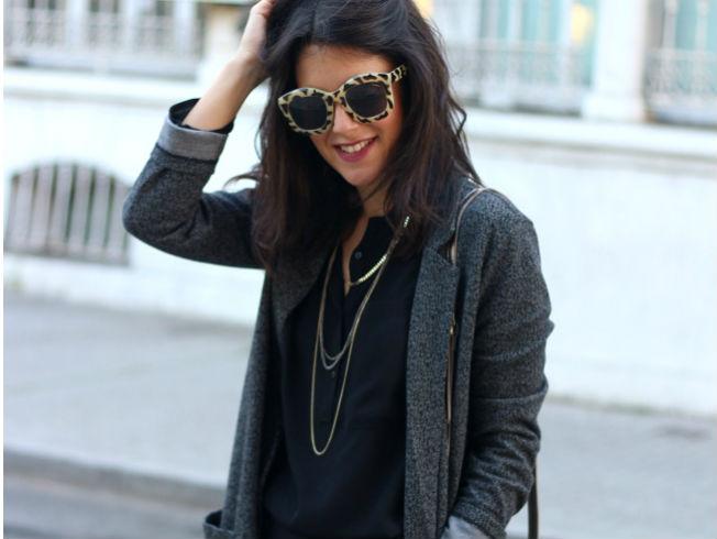 Abrigo largo gris de entretiempo de Zara