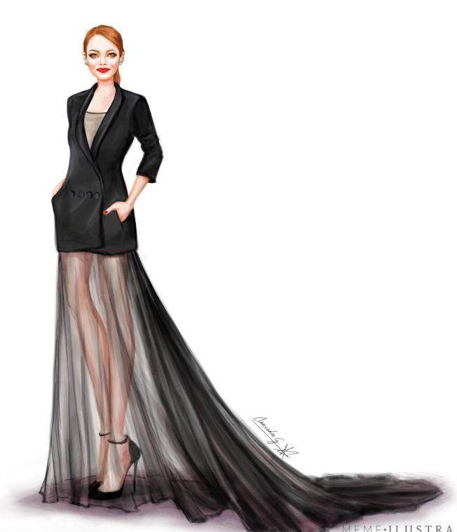 Emma Stone con vestido Dior. Ilustración de Mercedes Galán