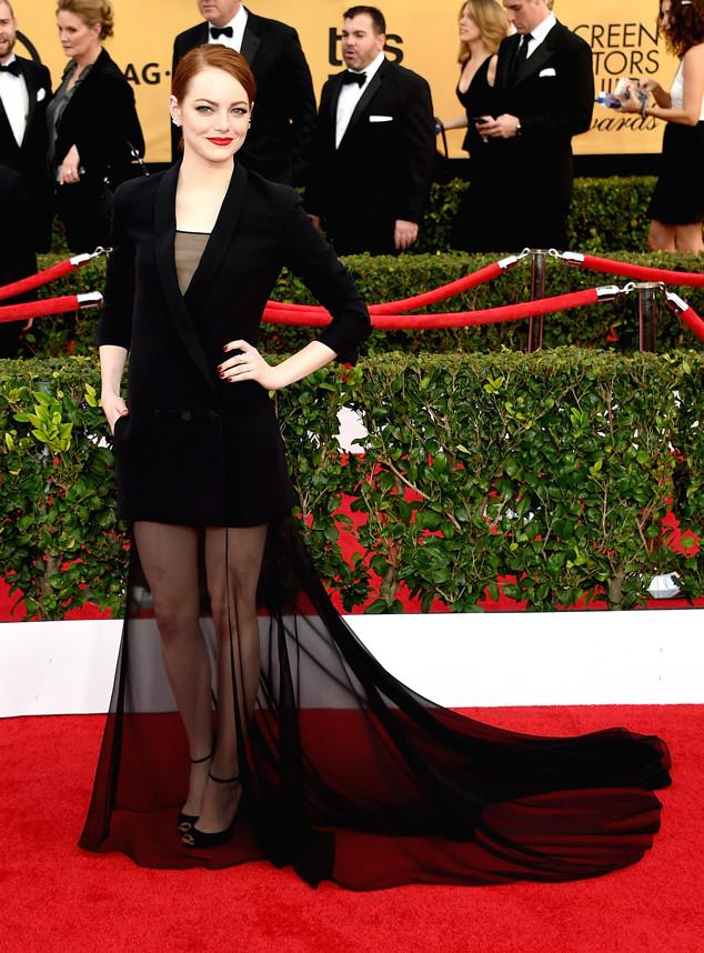 Emma Stone de Dior en los SAG 2015. Agencias