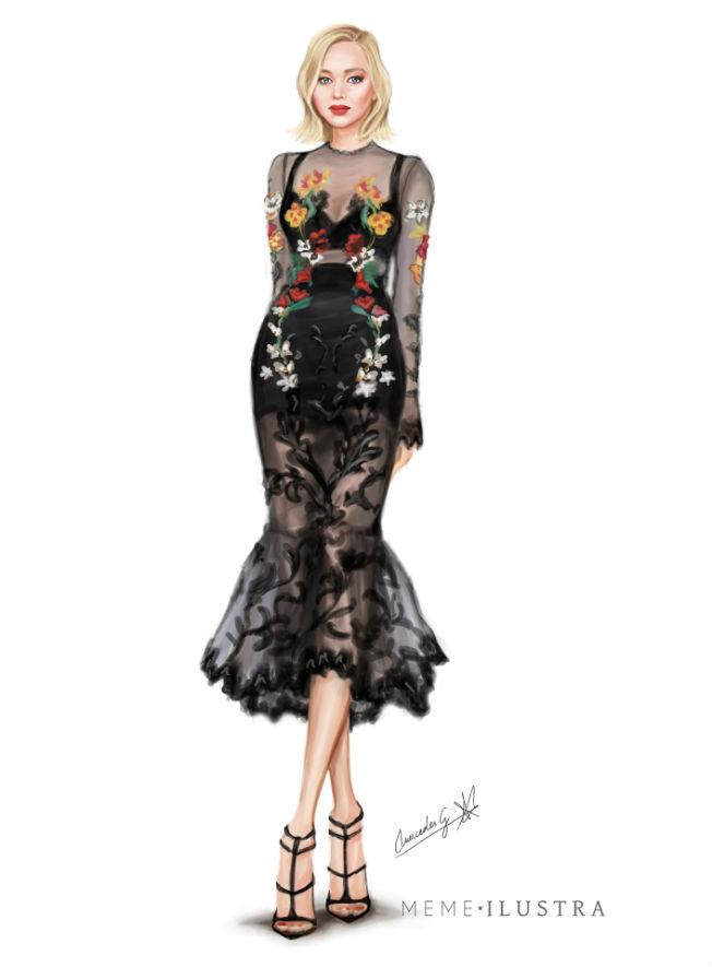 Jennifer Lawrence vestida por Dolce&Gabbana. Ilustración de Mercedes Galán