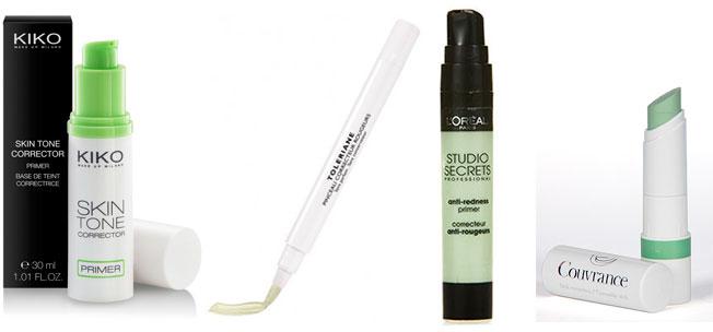 Primer y correctores verdes para pieles con rojeces