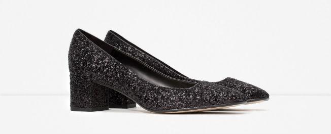 Tacones medios de glitter de Zara