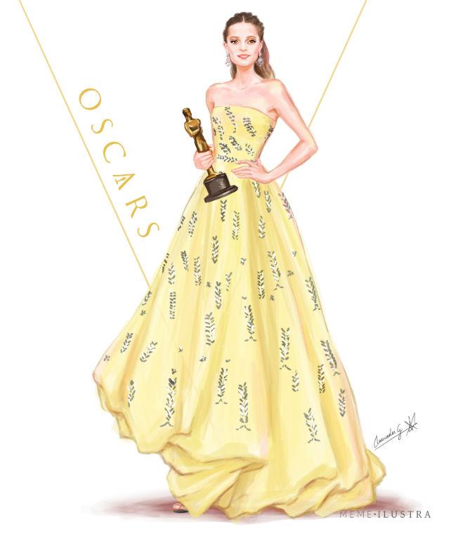 Ilustración de Alicia Vinkander en los Oscar 2016. Mercedes Galán