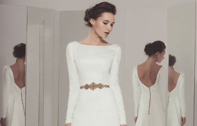 peinado vestido novia escote barco o cerrado