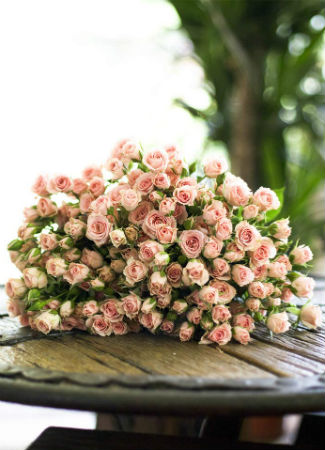 Ramo de novia con rosas de pitiminí