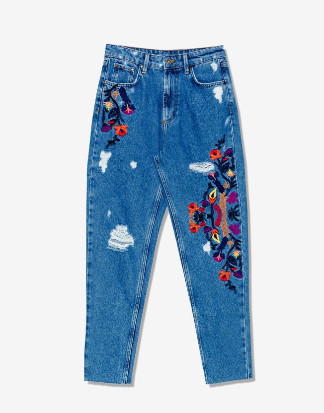 Jeans bordados de Pull and Bear