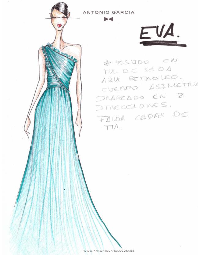 Vestido de Eva González, diseñado por Antonio García, para la Nochevieja 2017