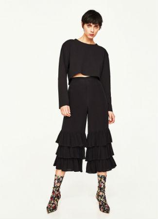 Pantalones de volantes de Zara