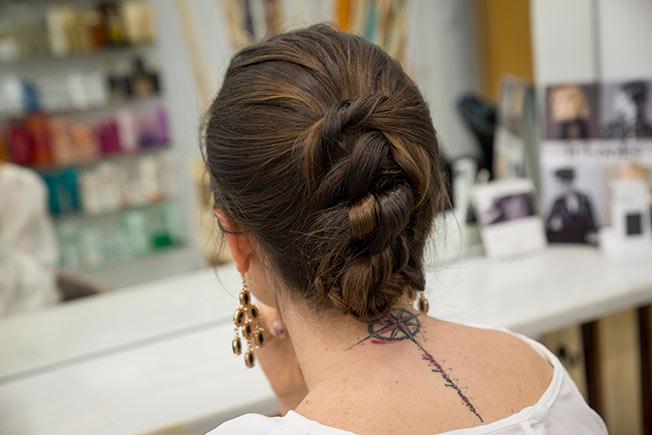 Ideas de peinados de flamenca: recogido con nudos