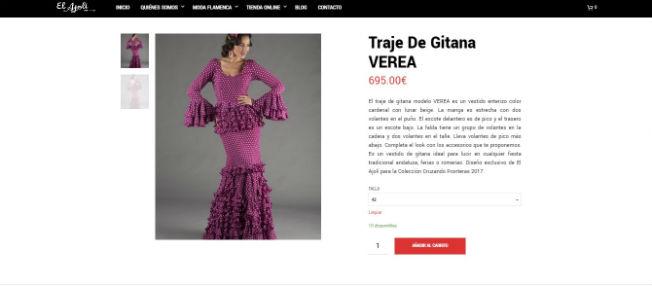 Página web de El Ajoli de venta de trajes de flamenca online