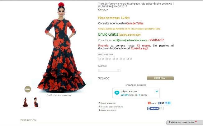 Página web que vende los trajes de flamenca de Pilar Vera