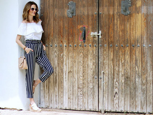 Tendencia de pantalones de rayas de Con paso chic