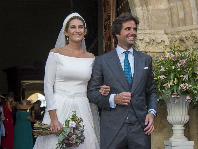 Sibi Montes, hermana de Lourdes Montes, con diseño de Roberto Diz en su boda. Foto: Juan José Úbeda