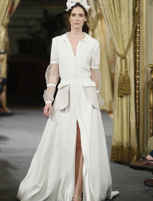 Vestido de novia camisero de Laura Lomas en Atelier Couture 2018