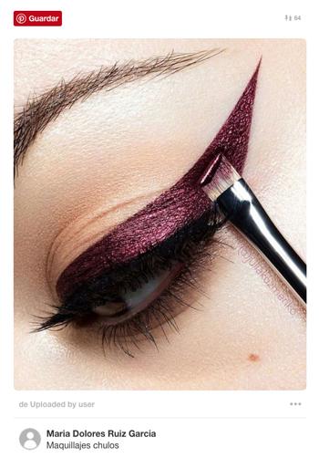 eyeliner maquillaje ojos burdeos