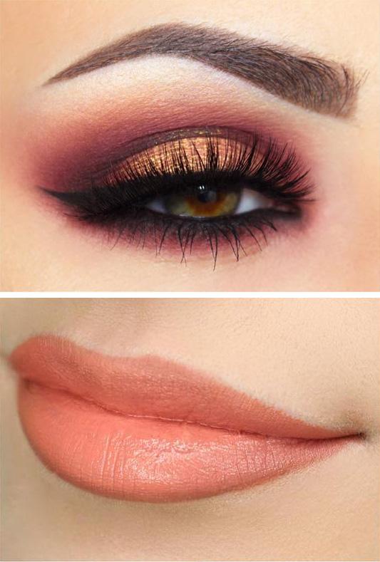 look ojos labios coral color pantone 2019