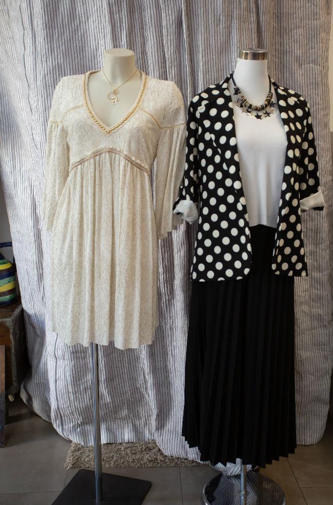 vestido-de-nekane-y-conjunto-de-chaqueta-de-lunares-y-falda-plisada