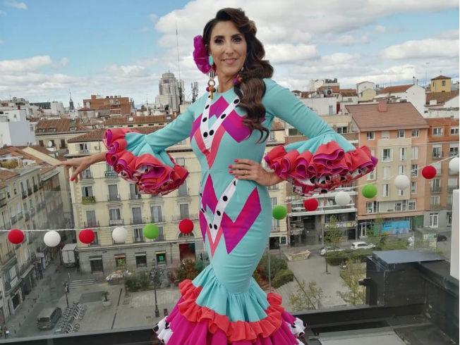 Paz Padilla con traje de flamenca de Juan Boleco