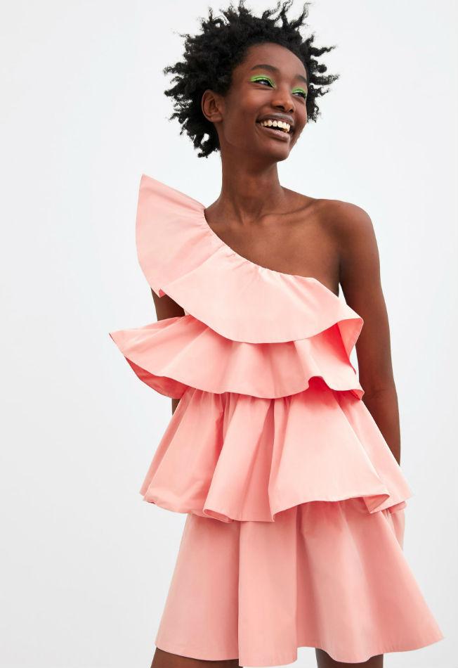 vestido negro flamencos rosas zara