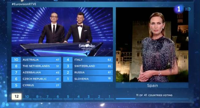 Nieves Álvarez con vestido de Fernando Claro en Eurovisión 2019