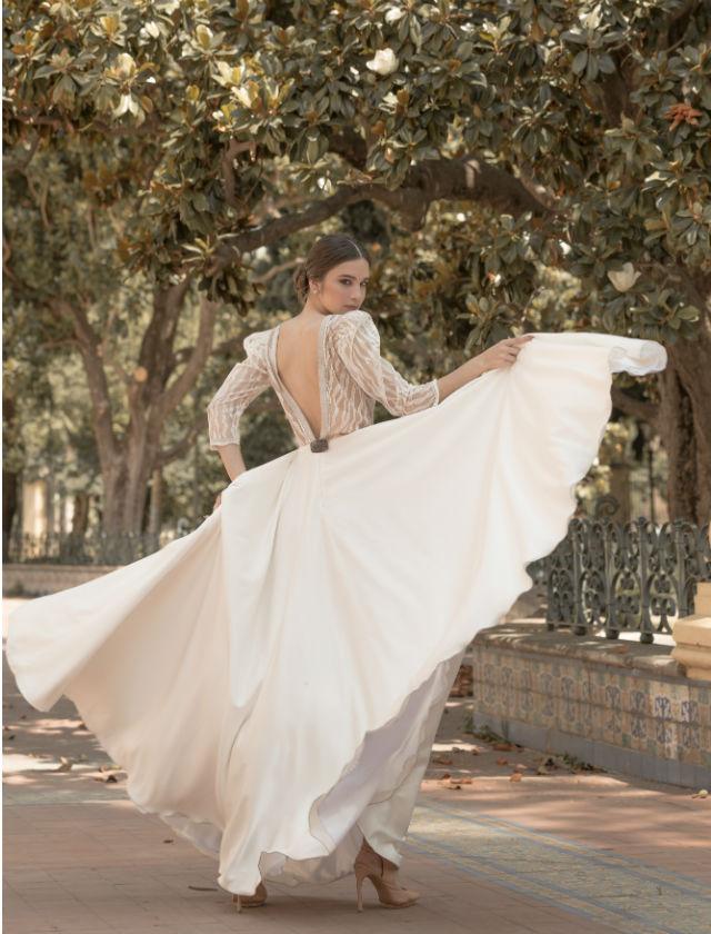 Diseño de novia de Inma Benicio en el Bridal Shooting de SIQ 2019. Foto: Rocío Aguado