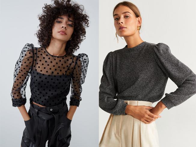 Mangas abullonadas en tops, blusas y camisas, tendencia del otoño 2019