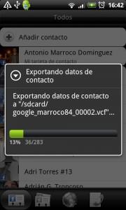 Creando el archivo .VCF que exporta los contactos a la tarjeta SD