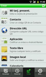 QR desde una de las diferentes opciones de la aplicación