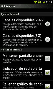 Ajustes en Wifi Analyzer