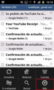 Menú de opciones en la aplicación de Gmail para Android