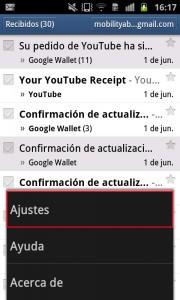 Acceso a Ajuestes en la aplicación de Gmail para Android