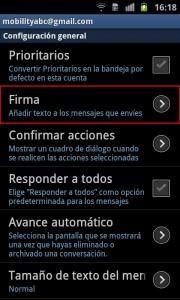Configuración general en la aplicación de Gmail para Android