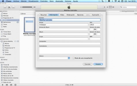 Información sección Libros iTunes