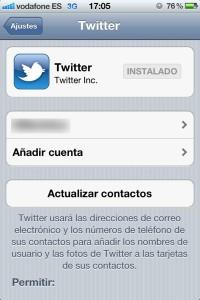 Pantalla de configuración de Twitter