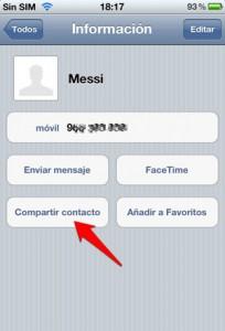 Cómo enviar un contacto de la agenda por iMessage en iOS, paso3, compartir