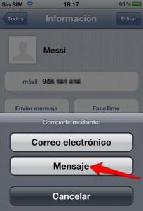 Cómo enviar un contacto de la agenda por iMessage en iOS, paso4, mensaje