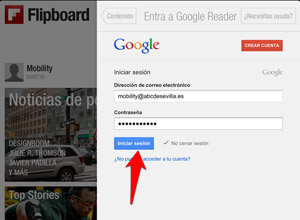 Cómo importar tus feeds de Google Reader a Flipboard en dispositivos iOS, iniciar-sesión-googlereader