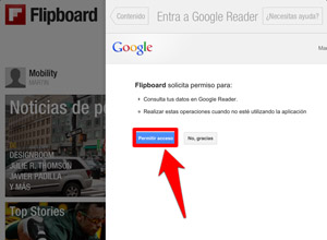 Cómo importar tus feeds de Google Reader a Flipboard en dispositivos iOS, permitir-acceso-flipboard-googlereader